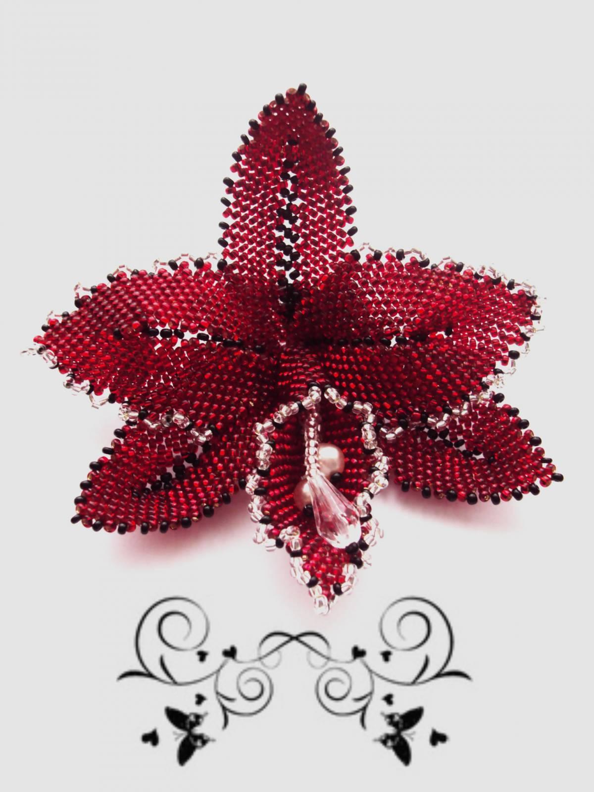 Орхидея из бисера схема плетения - Делаем фенечки своими руками.